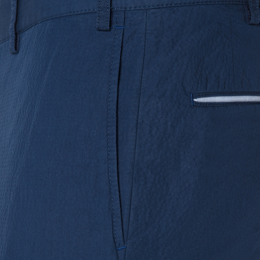 Hiltl Havacı Mavi Seersucker Pamuk Elastan Bermuda