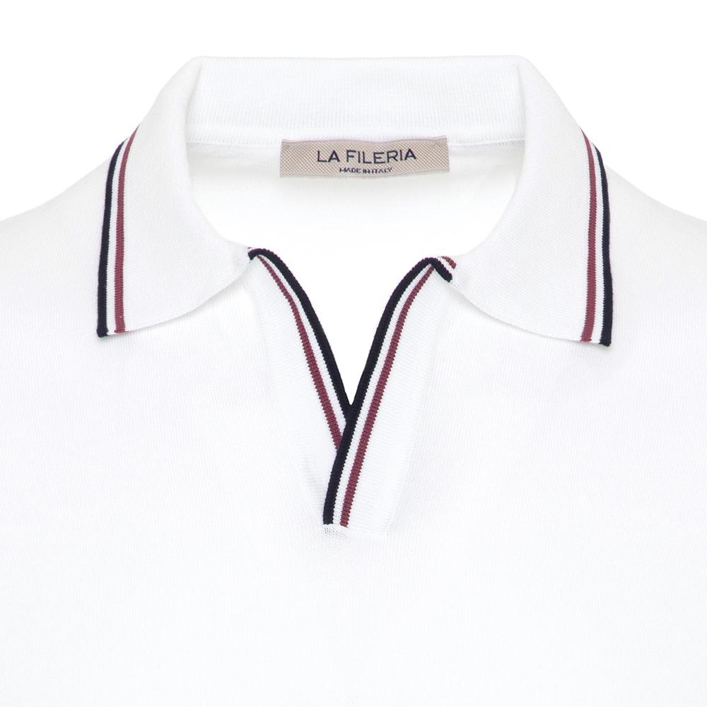La Fileria Gömlek Polo Yaka Beyaz Örme T-Shirt