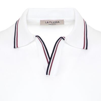 La Fileria - La Fileria Gömlek Polo Yaka Beyaz Örme T-Shirt (1)