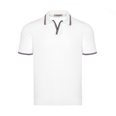 La Fileria - La Fileria Shirt Polo Collar White Jersey T-Shirt
