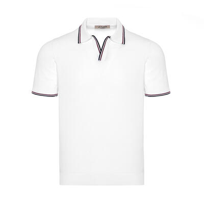 La Fileria - La Fileria Gömlek Polo Yaka Beyaz Örme T-Shirt