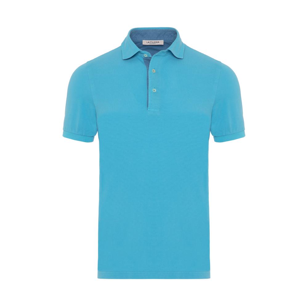 La Fileria - La Fileria Shirt Collar Aqua Washed Polo Piquet T-Shirt