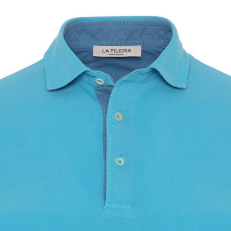 La Fileria - La Fileria Shirt Collar Aqua Washed Polo Piquet T-Shirt (1)