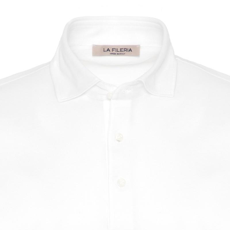 La Fileria - La Fileria Shirt Collar White Polo Piquet Jersey T-Shirt (1)