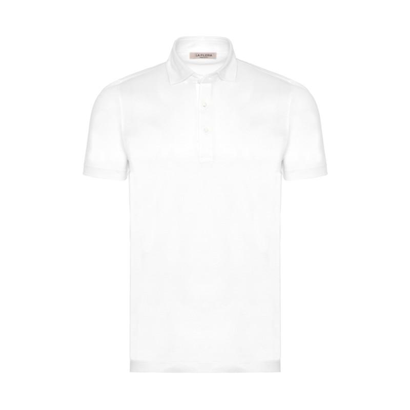 La Fileria - La Fileria Gömlek Yaka Beyaz Polo Piquet Örme T-Shirt