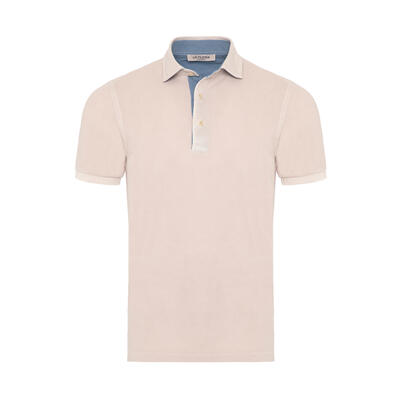 La Fileria - La Fileria Gömlek Yaka Buz Rengi Yıkamalı Polo Piquet T-Shirt