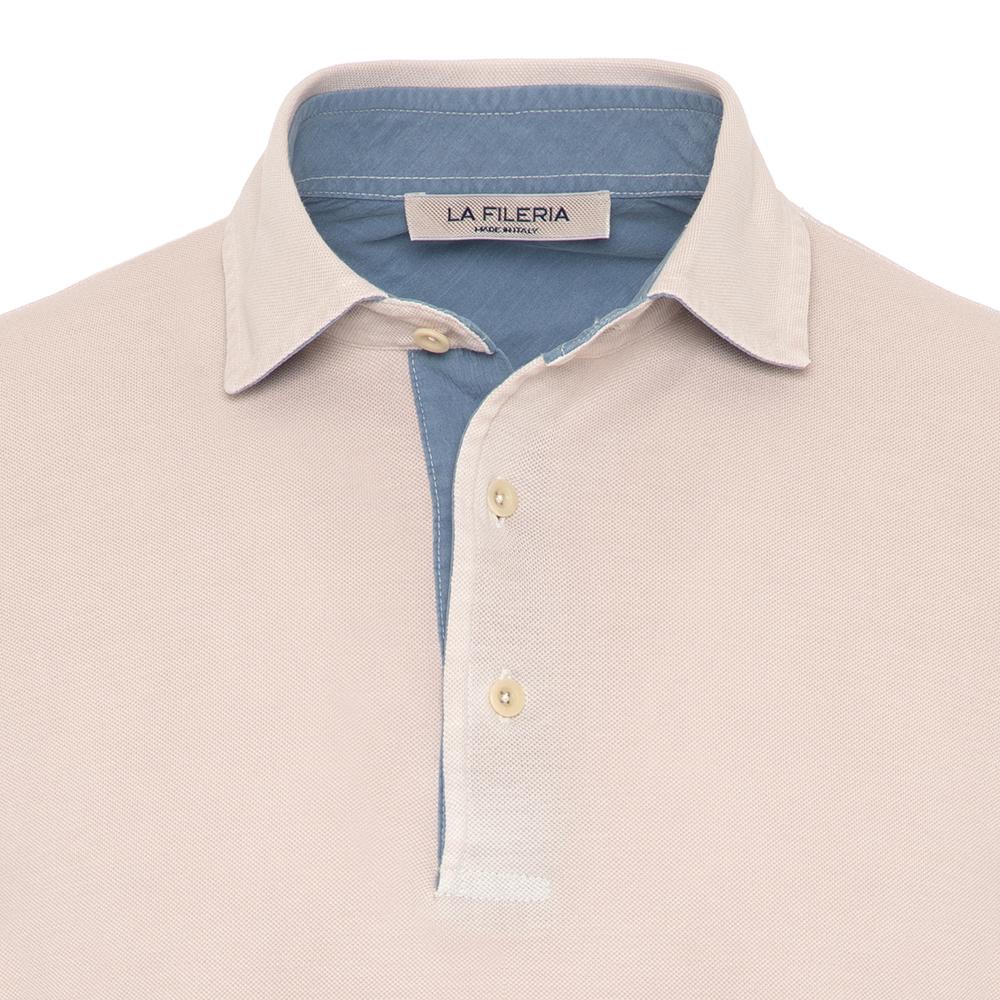 La Fileria Gömlek Yaka Buz Rengi Yıkamalı Polo Piquet T-Shirt
