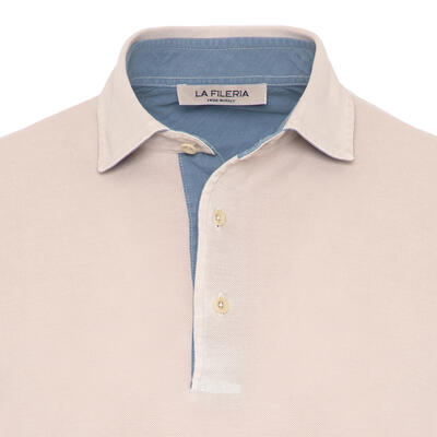 La Fileria - La Fileria Gömlek Yaka Buz Rengi Yıkamalı Polo Piquet T-Shirt (1)