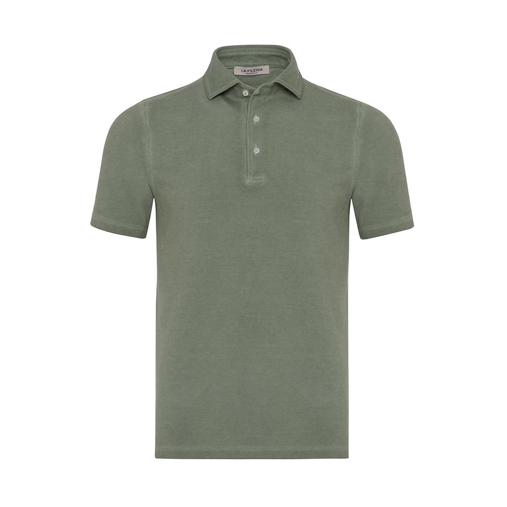 La Fileria - La Fileria Gömlek Yaka Çağla Yeşili Vintage Polo Piquet Slim Fit T-Shirt
