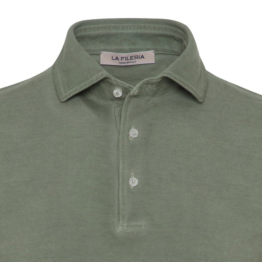 La Fileria Gömlek Yaka Çağla Yeşili Vintage Polo Piquet Slim Fit T-Shirt