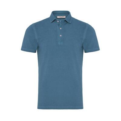 La Fileria - La Fileria Gömlek Yaka Denim Mavi Vintage Polo Piquet T-Shirt