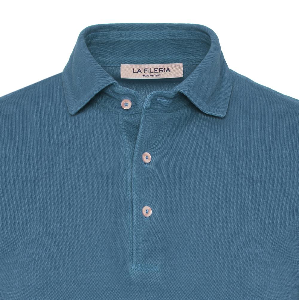 La Fileria Gömlek Yaka Denim Mavi Vintage Polo Piquet T-Shirt