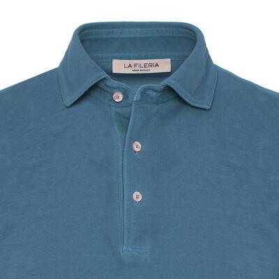 La Fileria - La Fileria Gömlek Yaka Denim Mavi Vintage Polo Piquet T-Shirt (1)