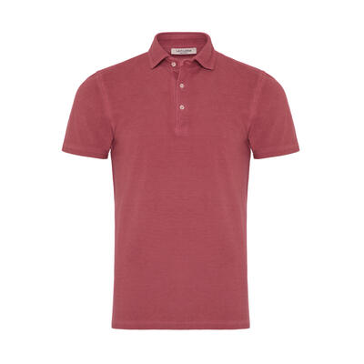 La Fileria - La Fileria Gömlek Yaka Gül Kurusui Vintage Polo Piquet T-Shirt