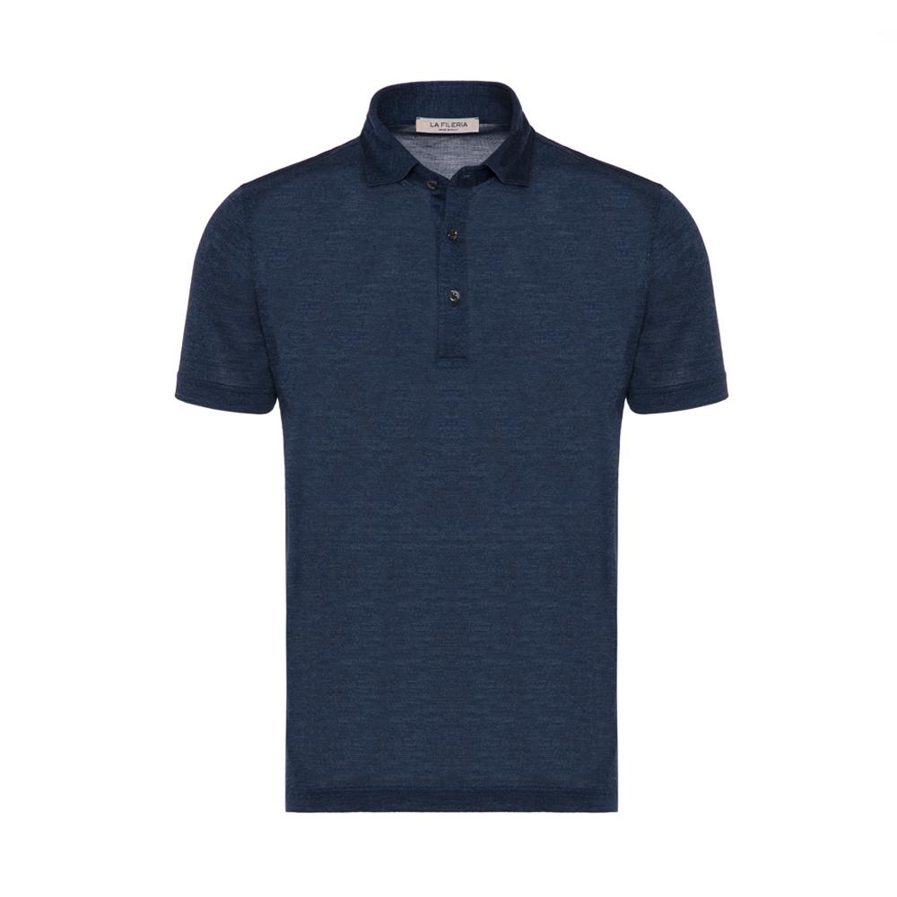 La Fileria - La Fileria Gömlek Yaka Lacivert Melanj Yıkamalı Polo Piquet Örme Tailor Fit T-Shirt
