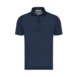 La Fileria - La Fileria Gömlek Yaka Lacivert Melanj Yıkamalı Polo Piquet Örme T-Shirt