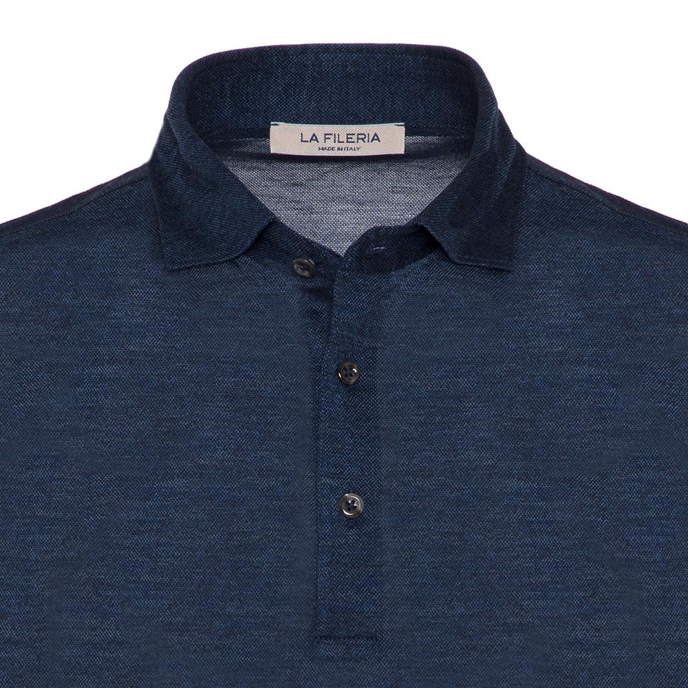 La Fileria Gömlek Yaka Lacivert Melanj Yıkamalı Polo Piquet Örme T-Shirt