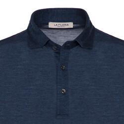 La Fileria - La Fileria Gömlek Yaka Lacivert Melanj Yıkamalı Polo Piquet Örme T-Shirt (1)