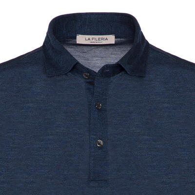 La Fileria - La Fileria Gömlek Yaka Lacivert Melanj Yıkamalı Polo Piquet Örme Tailor Fit T-Shirt (1)