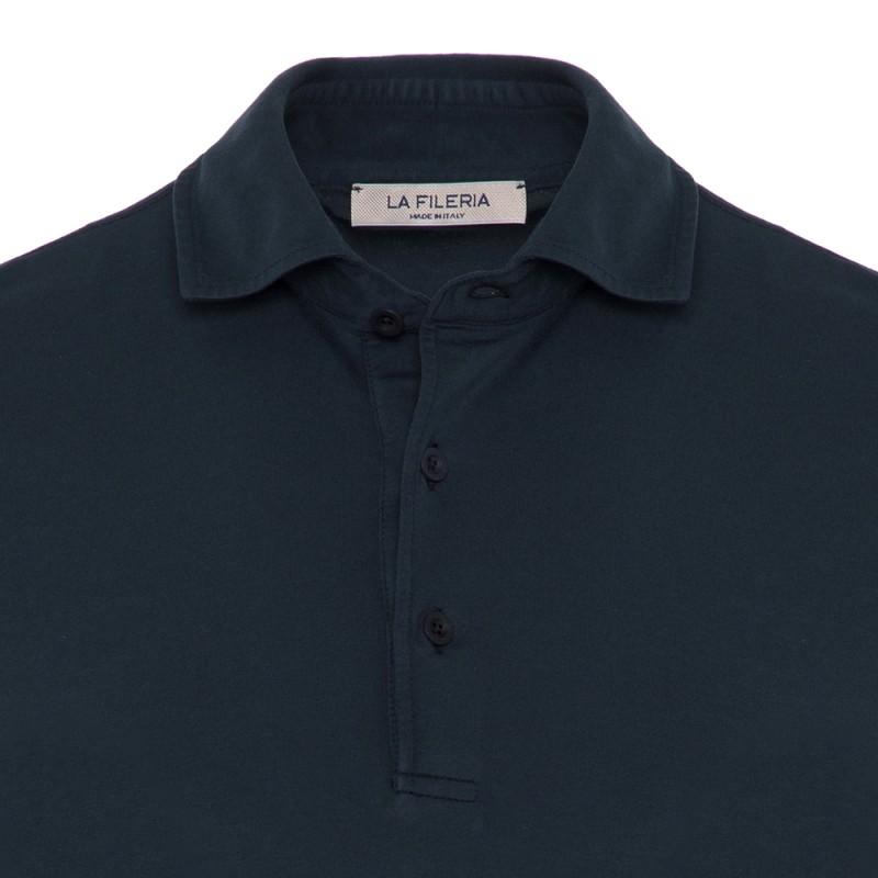 La Fileria - La Fileria Gömlek Yaka Lacivert Polo Merserize Slim Fit T-Shirt (1)