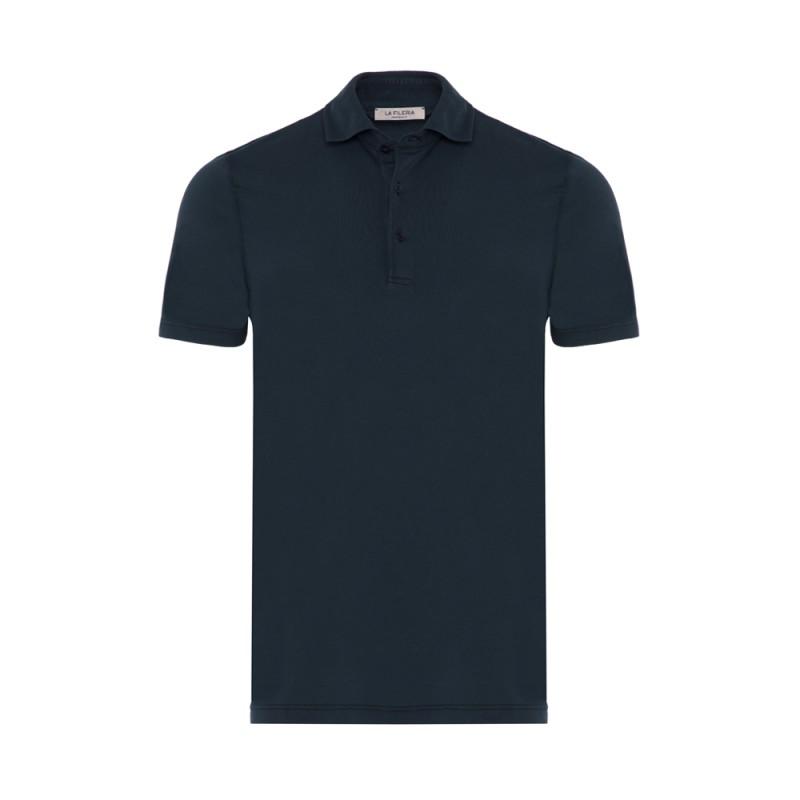 La Fileria Gömlek Yaka Lacivert Polo Merserize T-Shirt