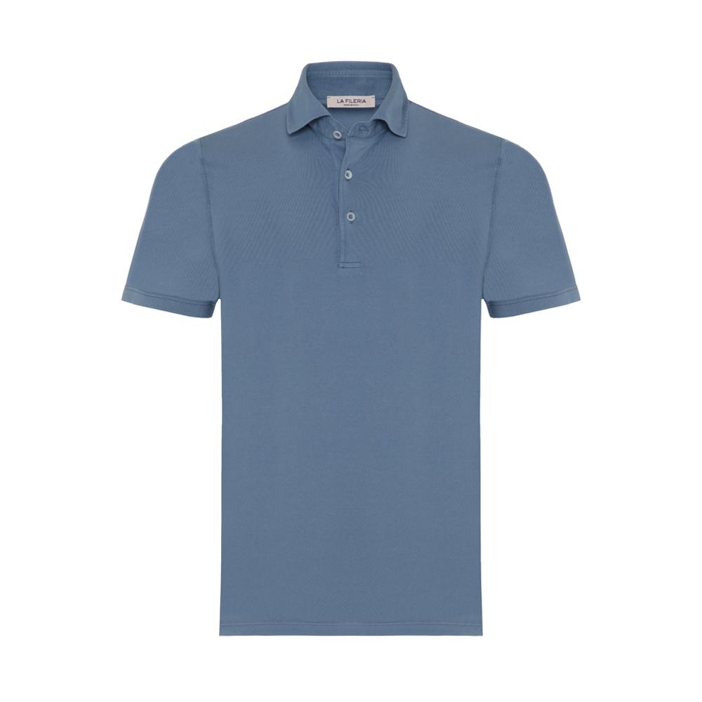 La Fileria - La Fileria Gömlek Yaka Mavi Polo Merserize Slim Fit T-Shirt