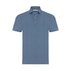 La Fileria - La Fileria Gömlek Yaka Mavi Polo Merserize T-Shirt
