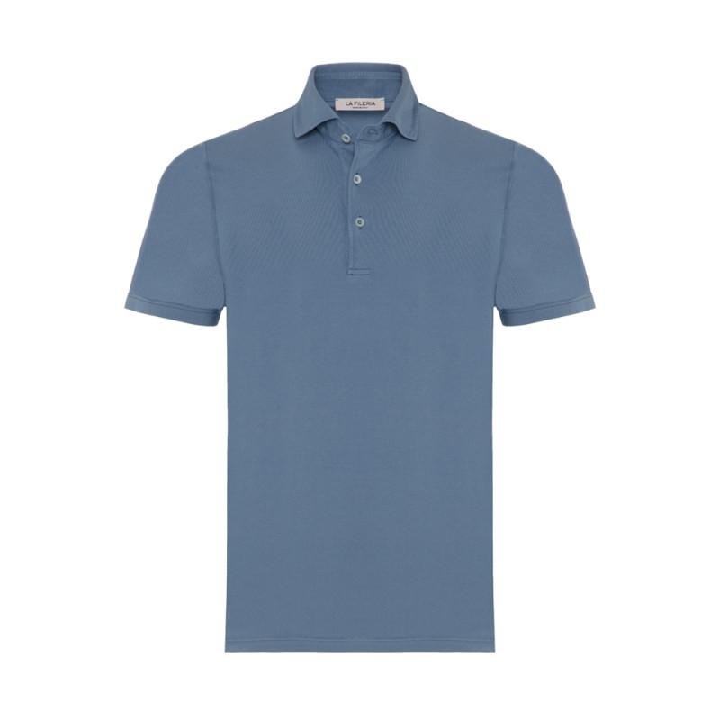 La Fileria Gömlek Yaka Mavi Polo Merserize T-Shirt