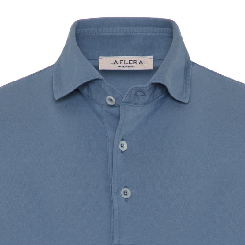 La Fileria - La Fileria Gömlek Yaka Mavi Polo Merserize Slim Fit T-Shirt (1)