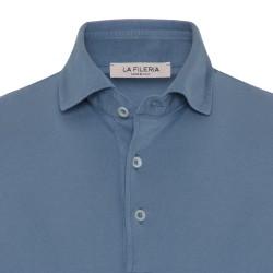 La Fileria Gömlek Yaka Mavi Polo Merserize T-Shirt - Thumbnail