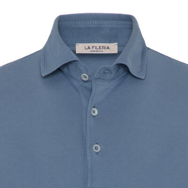 La Fileria - La Fileria Gömlek Yaka Mavi Polo Merserize T-Shirt (1)
