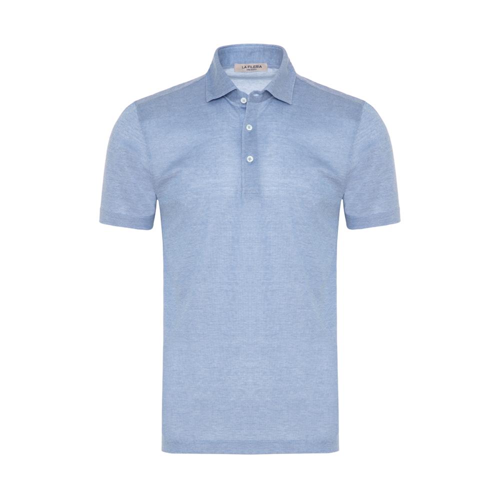 La Fileria Gömlek Yaka Mavi Polo Piquet Örme T-Shirt