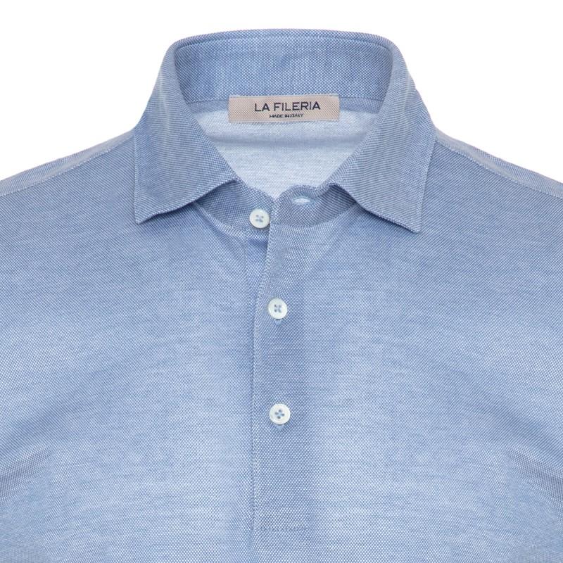 La Fileria - La Fileria Gömlek Yaka Mavi Polo Piquet Örme Tailor Fit T-Shirt (1)