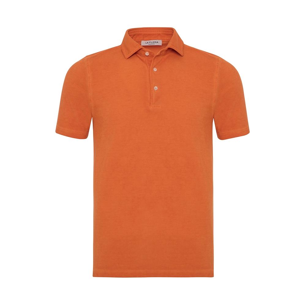 La Fileria - La Fileria Gömlek Yaka Orange Vintage Polo Piquet Slim Fit T-Shirt