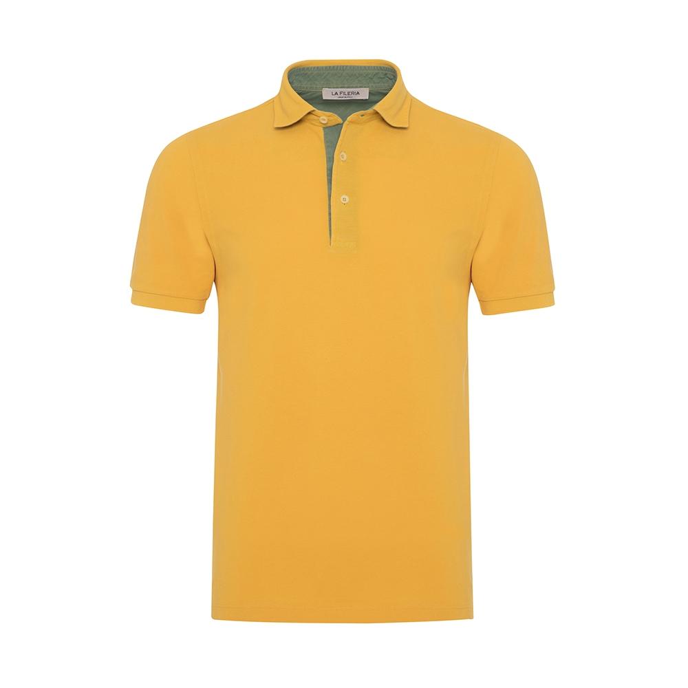 La Fileria - La Fileria Gömlek Yaka Sarı Vintage Slim Fit T-Shirt