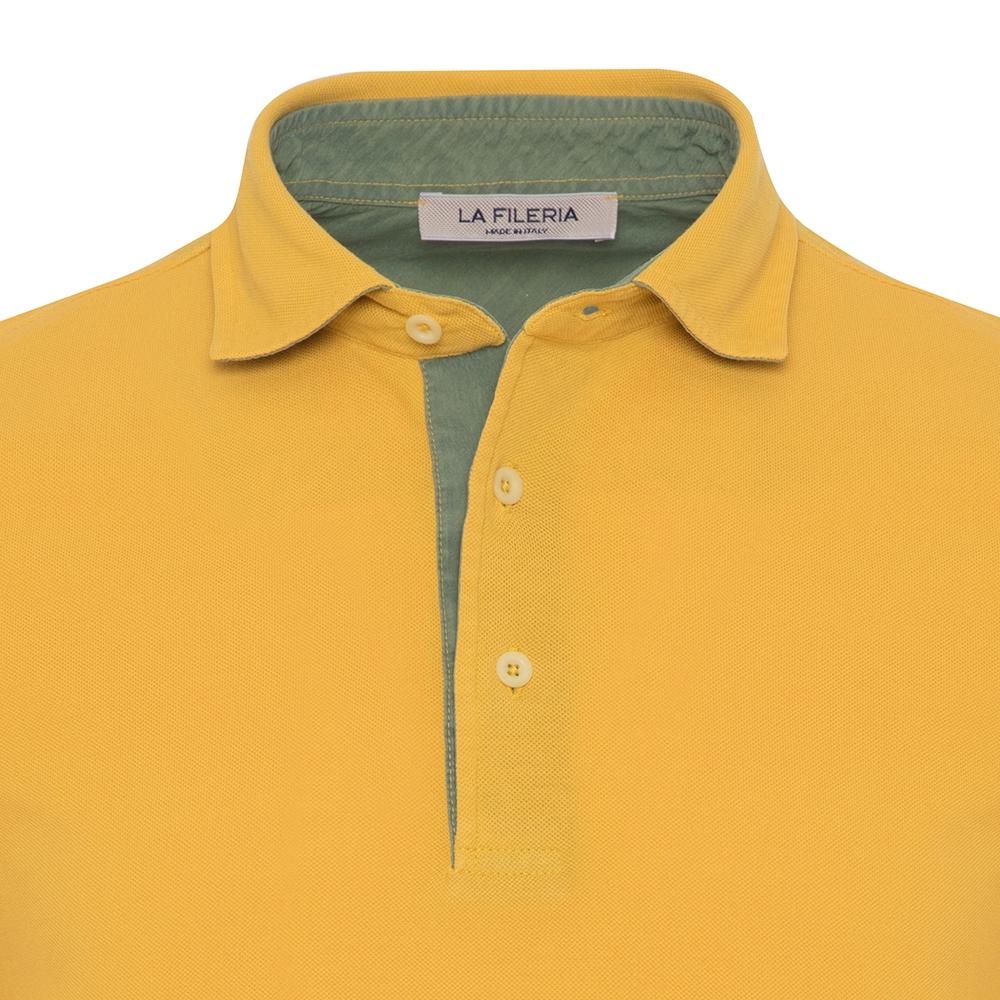 La Fileria Gömlek Yaka Sarı Vintage Slim Fit T-Shirt
