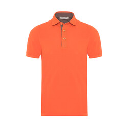 La Fileria - La Fileria Gömlek Yaka Turuncu Yıkamalı Polo Piquet T-Shirt