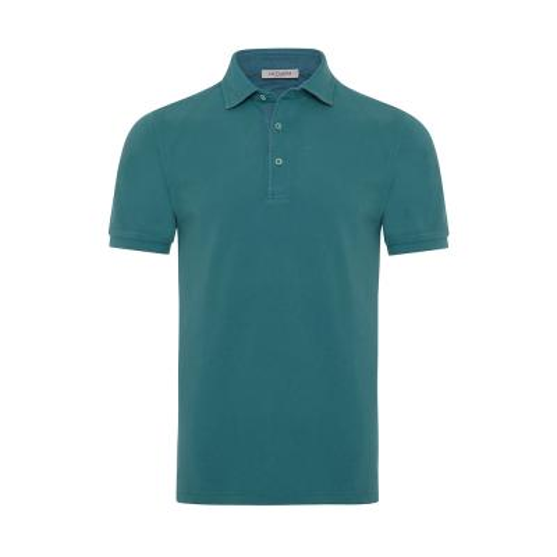 La Fileria - La Fileria Gömlek Yaka Yeşil Vintage Slim Fit T-Shirt