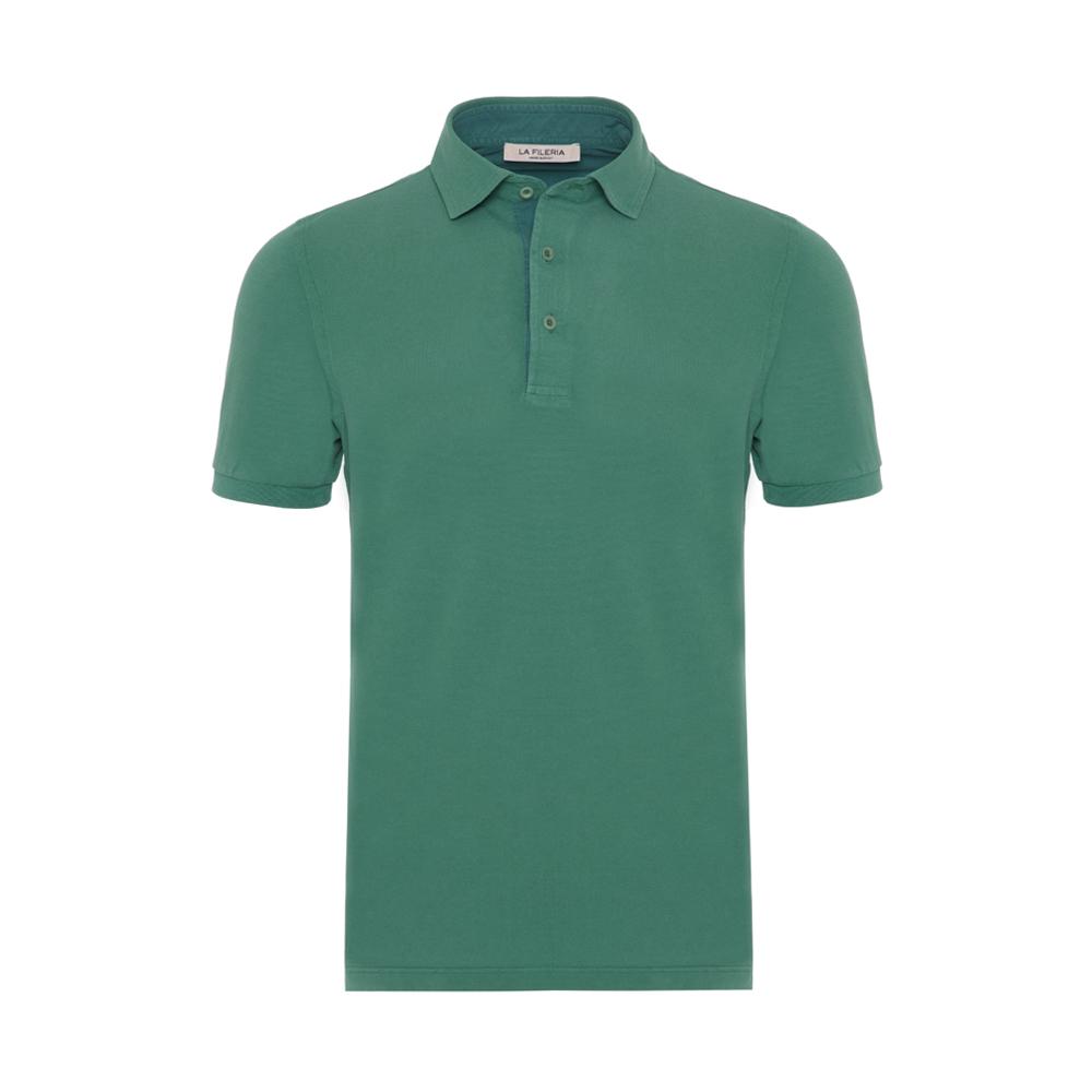 La Fileria Gömlek Yaka Yeşil Yıkamalı Polo Piquet T-Shirt