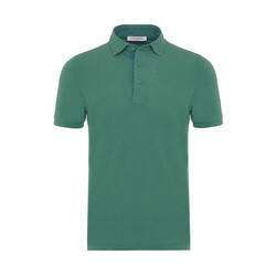 La Fileria Gömlek Yaka Yeşil Yıkamalı Polo Piquet T-Shirt - Thumbnail