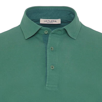La Fileria - La Fileria Gömlek Yaka Yeşil Yıkamalı Polo Piquet T-Shirt (1)
