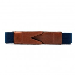 La Portegna - La Portegna Cotton Leather Hand made Navy Travel Belt