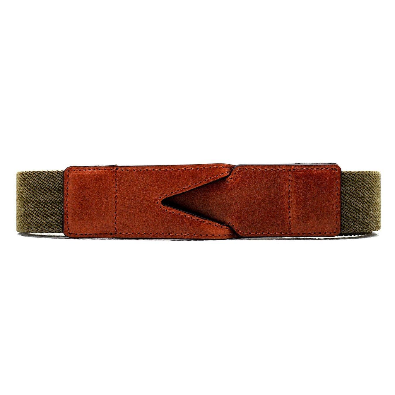 La Portegna - La Portegna Cotton Leather Hand made Green Travel Belt