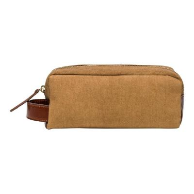 La Portegna - La Portegna Waterproof Canvas Leather Desert Sand Small Size Shaving Set Bag