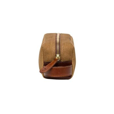 La Portegna - La Portegna Waterproof Canvas Leather Desert Sand Small Size Shaving Set Bag (1)