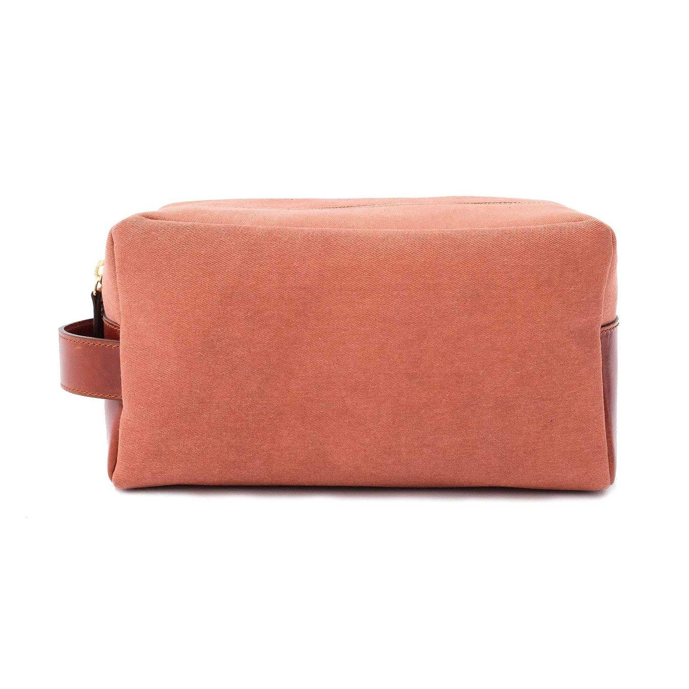 La Portegna - La Portegna Waterproof Canvas Leather Rusty Shaving Set Bag