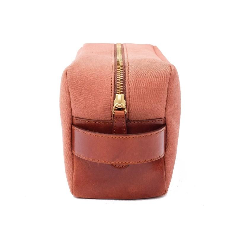 La Portegna - La Portegna Waterproof Canvas Leather Rusty Shaving Set Bag (1)
