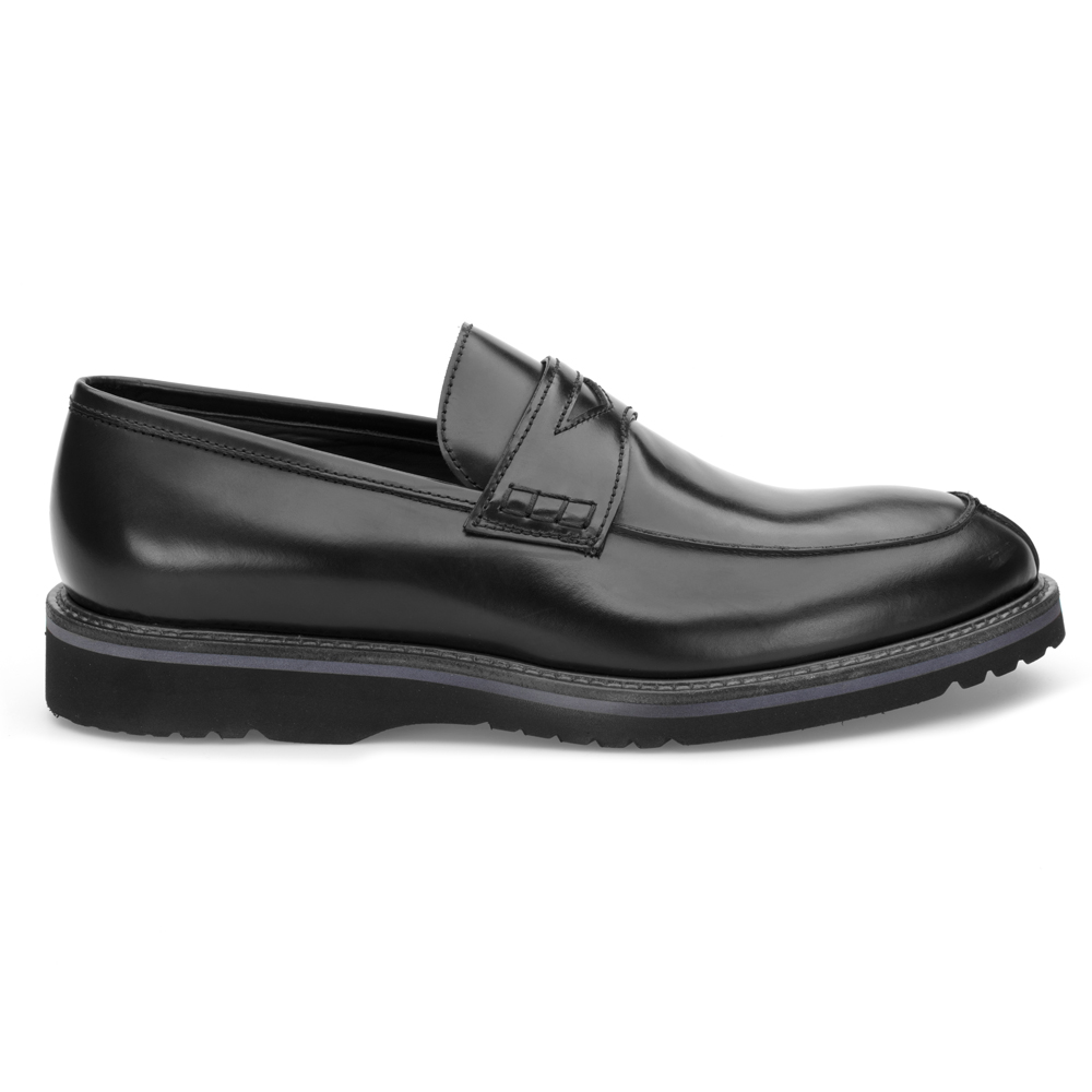 LO.White Black Leather Loafer