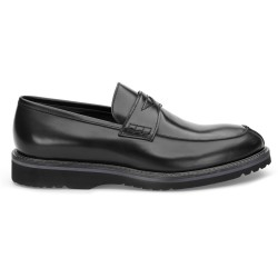 LO.White Black Leather Loafer - Thumbnail