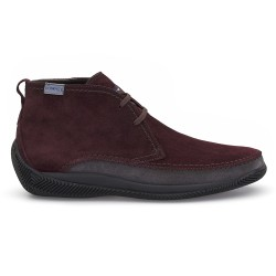 LO.White Handmade Claret Red Suede %100 Italian Shoe - Thumbnail